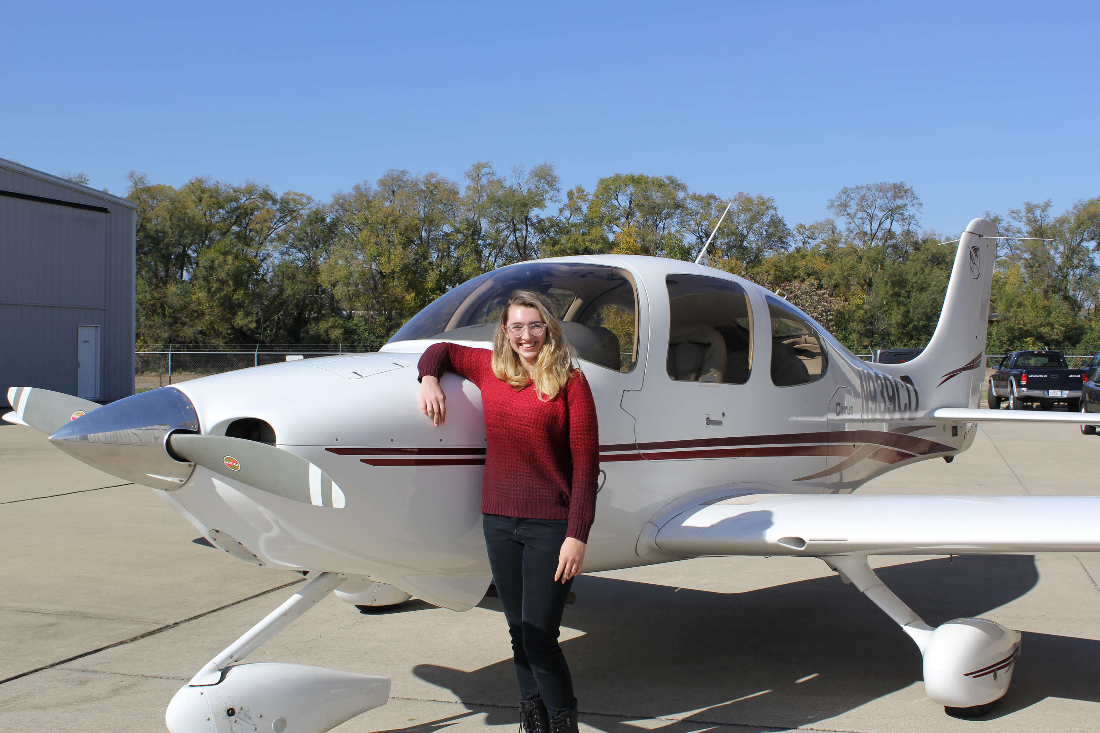 Aviation student with plane