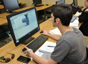 Student learning computer-aided drafting