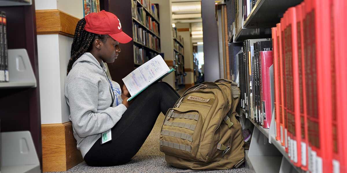 Library - girl on floor