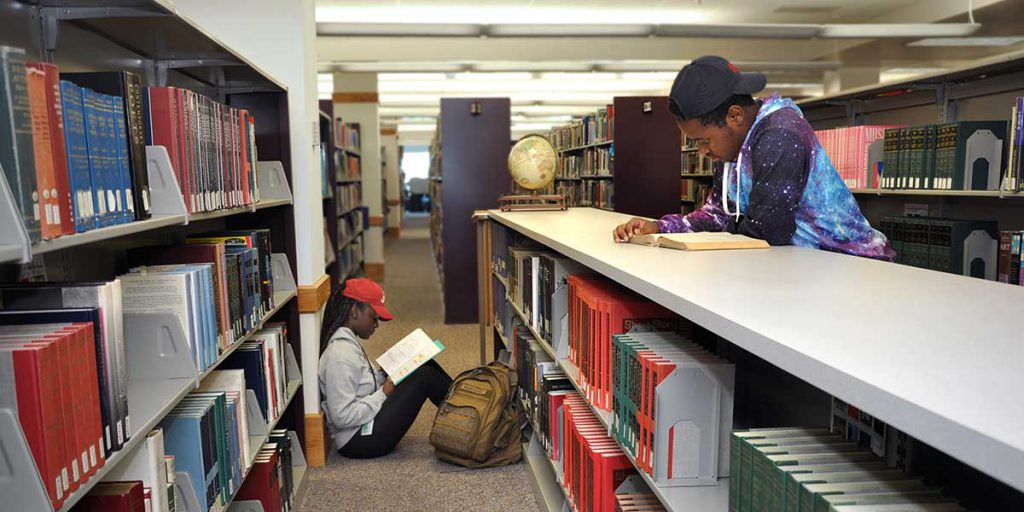 Library - students in reference