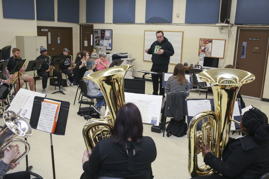 SWIC main campus ensemble practices for a music concert.