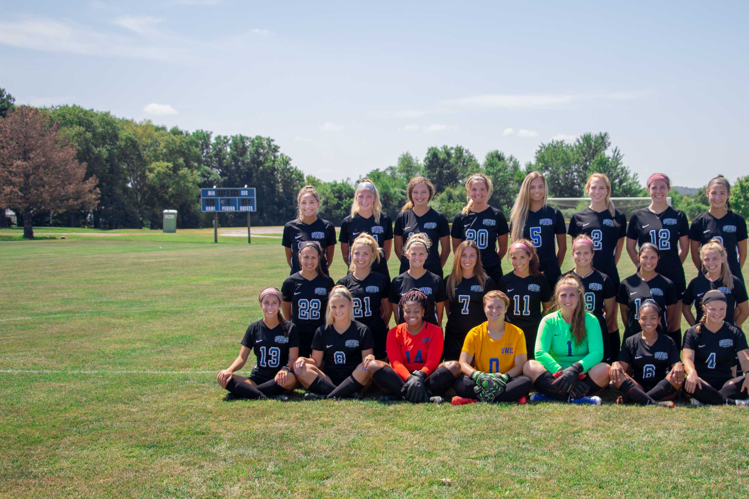 A group photo of the women's soccer team.