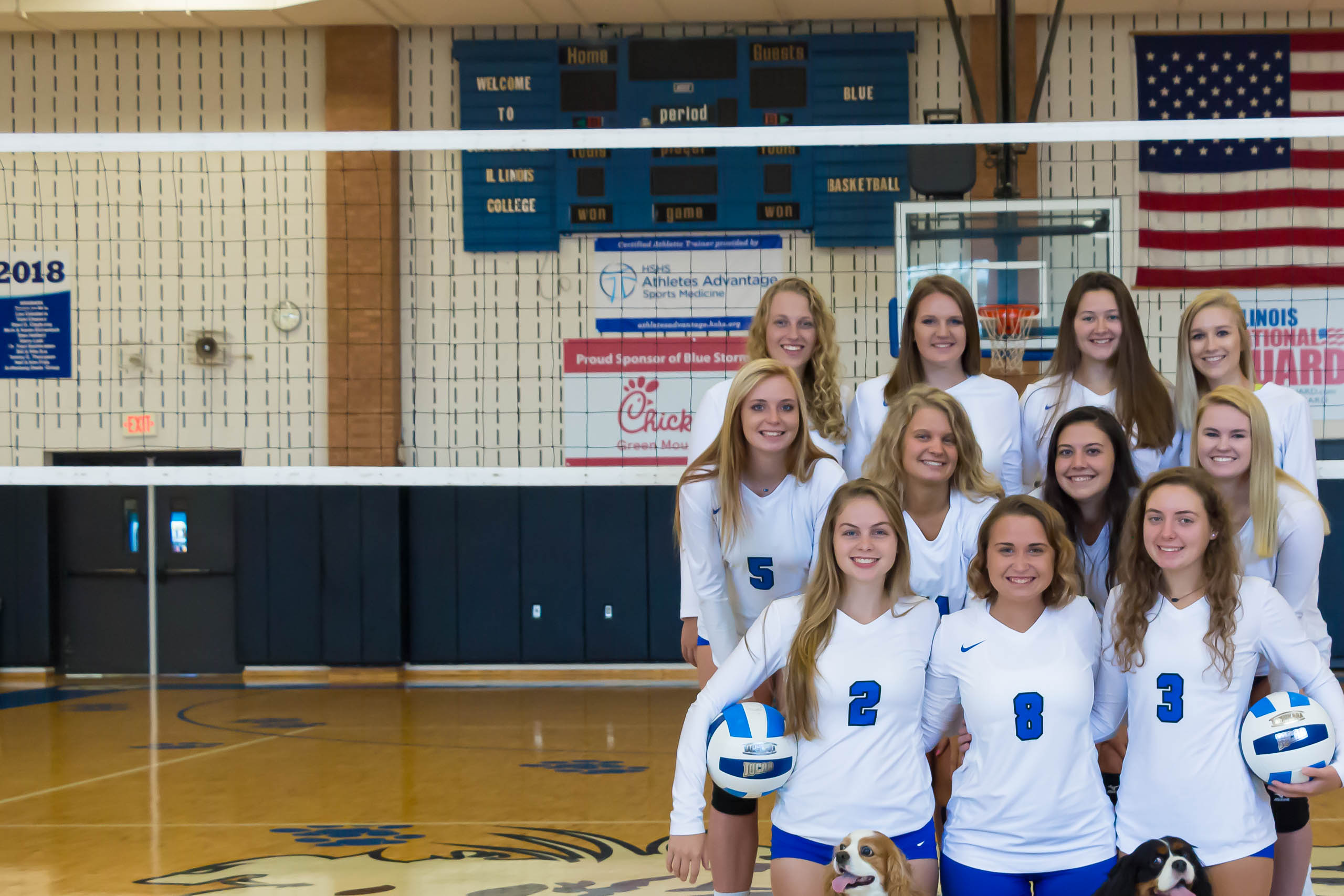 A group photo of the women's volleyball team.
