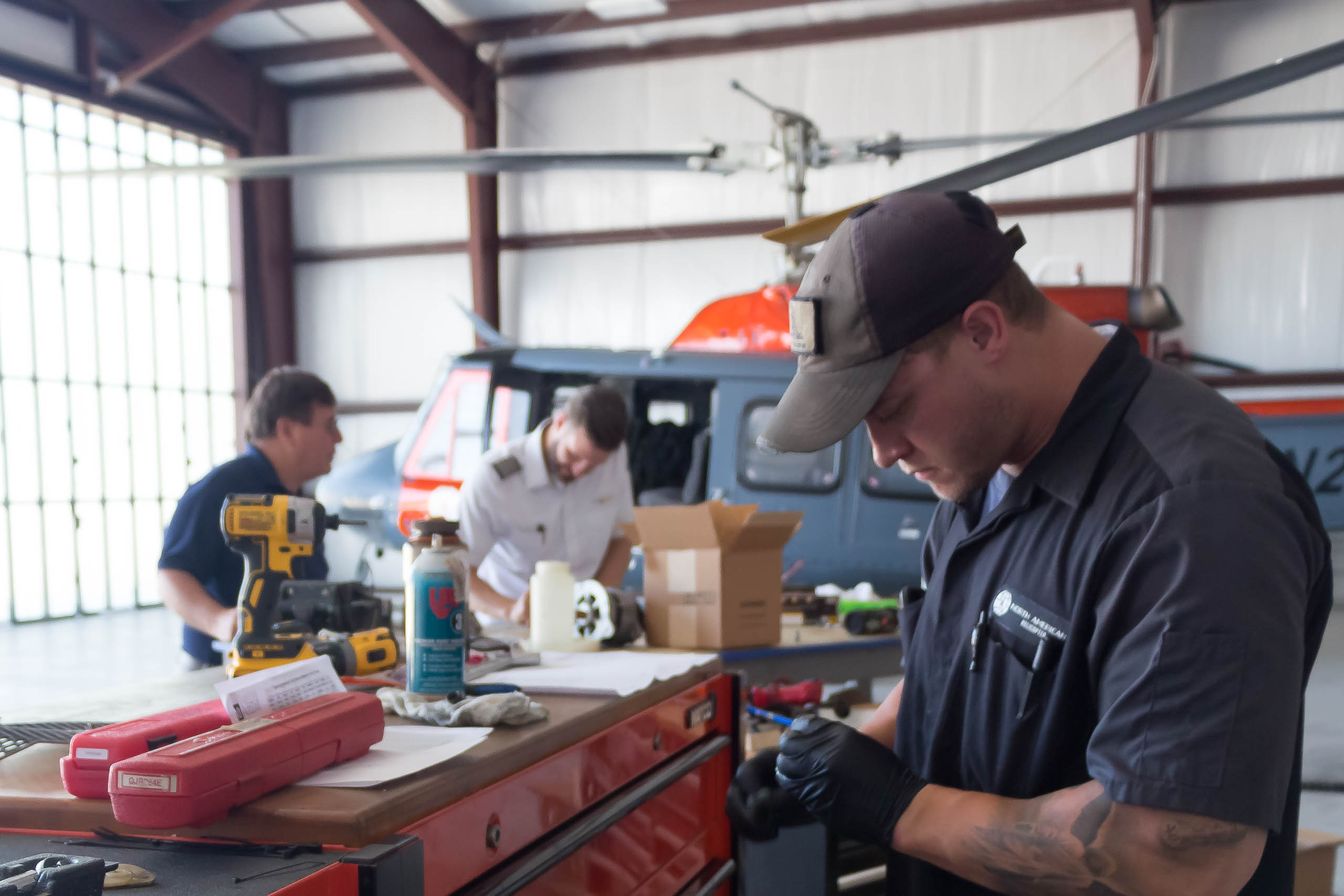 Student in helicopter maintenance class.