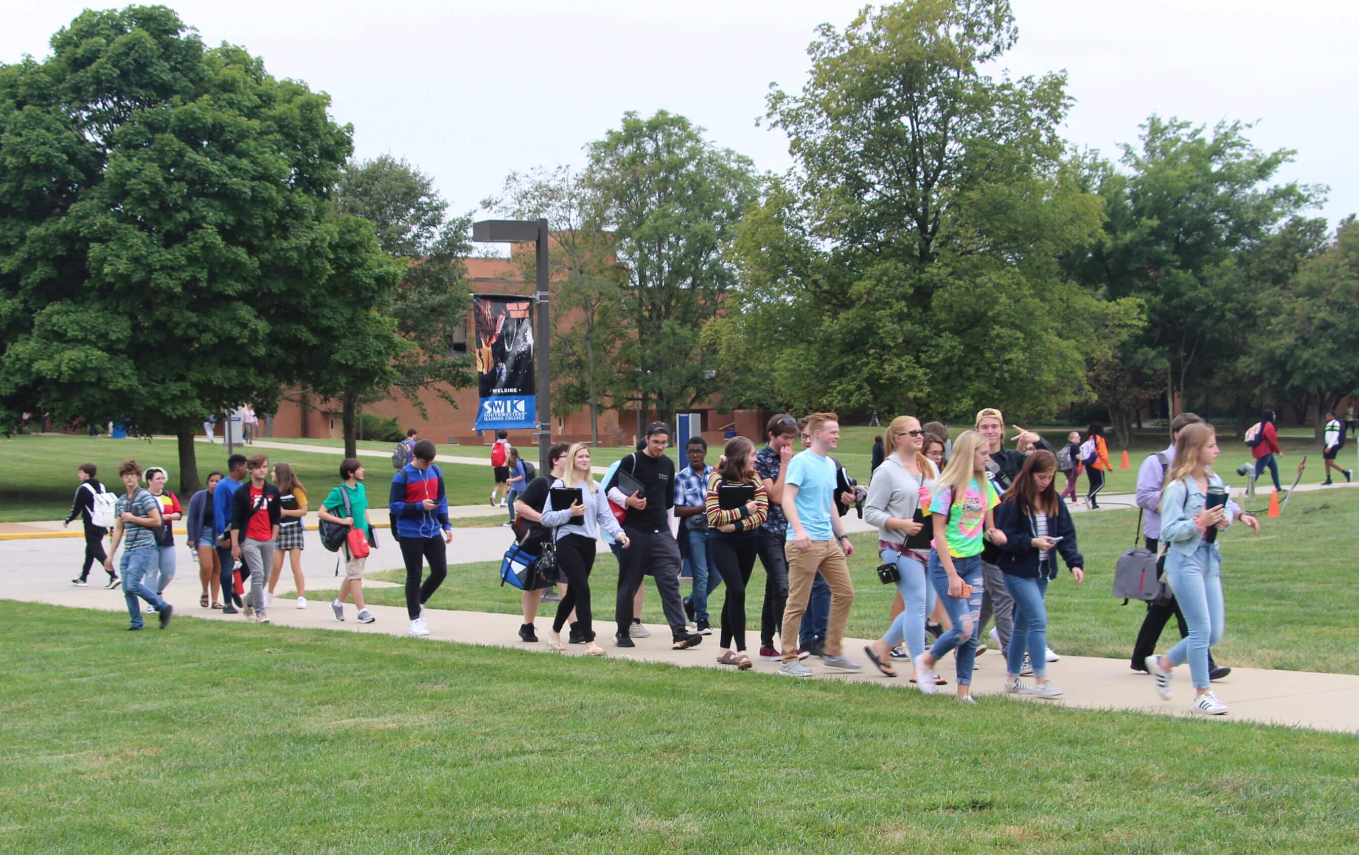 SWIC main campus students on quad