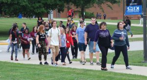 Students walking across the quad for classes