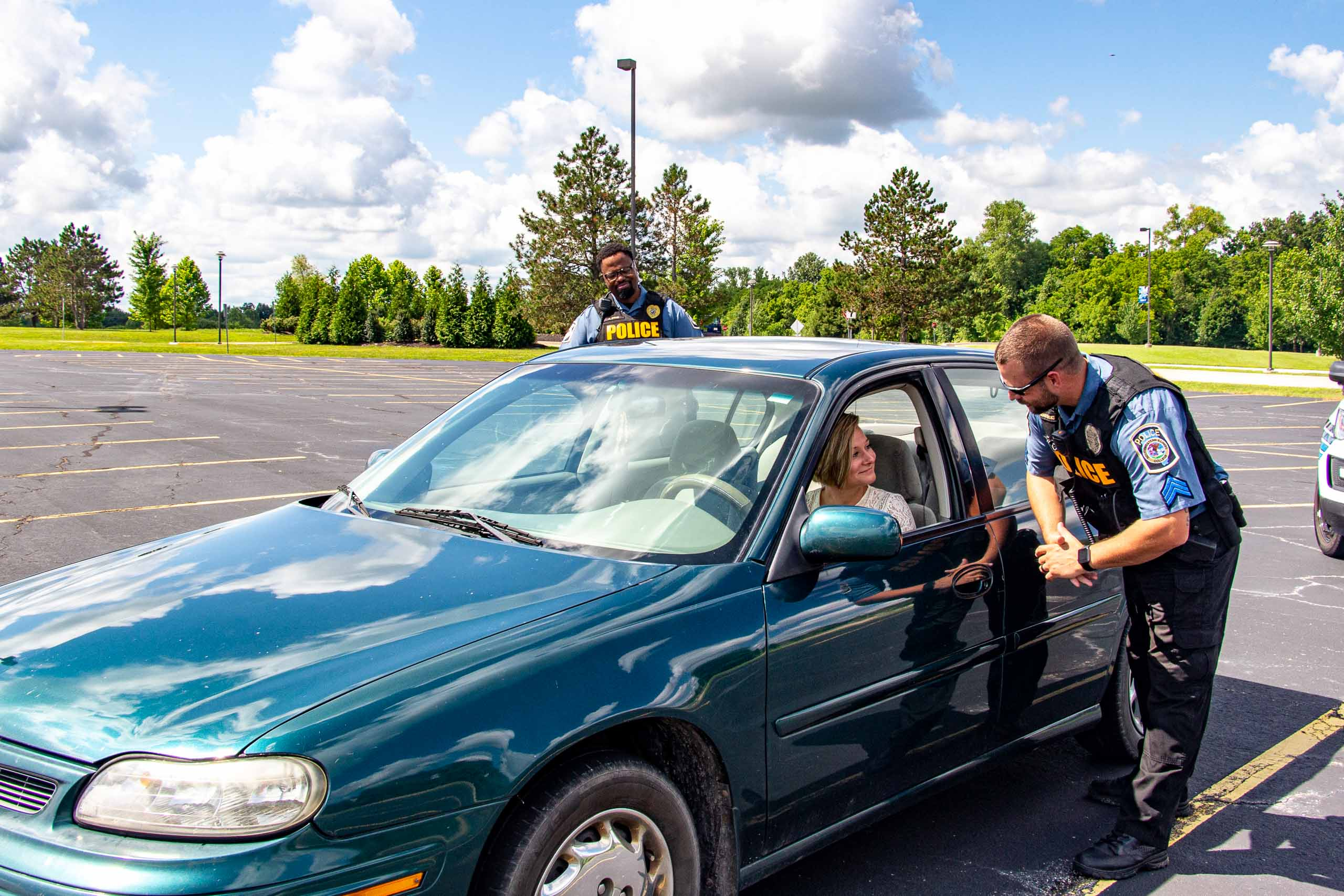 Officers doing a traffic stop.