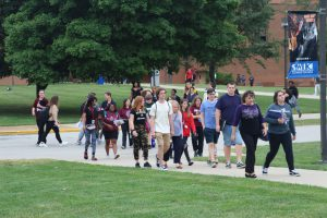 SWIC file photo of Belleville Campus students walking across the Belleville Campus quad.