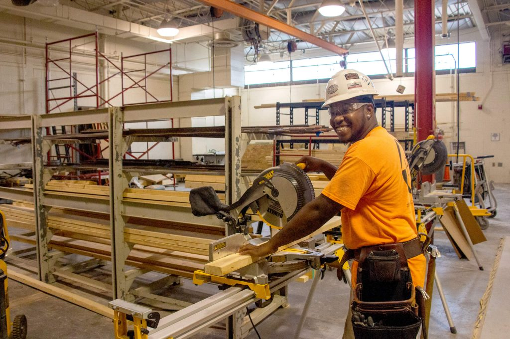 SWIC file photo of a student performing carpentry work during HCCTP