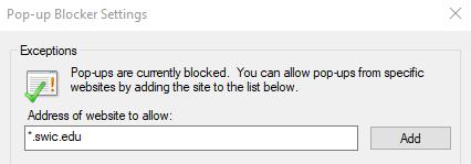 IE add address to allow